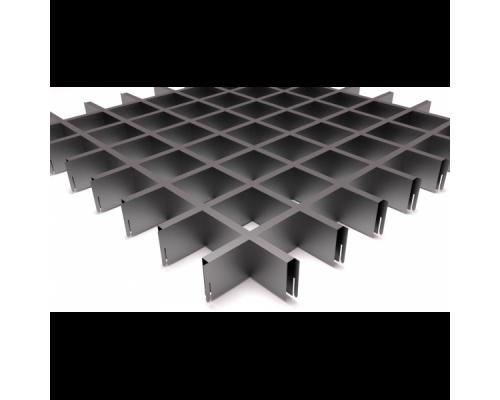 Подвесной потолок Грильято серый металлик 75x75x40 мм